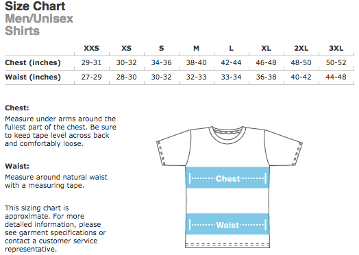 American Apparel Men \ Unisex Size Chart