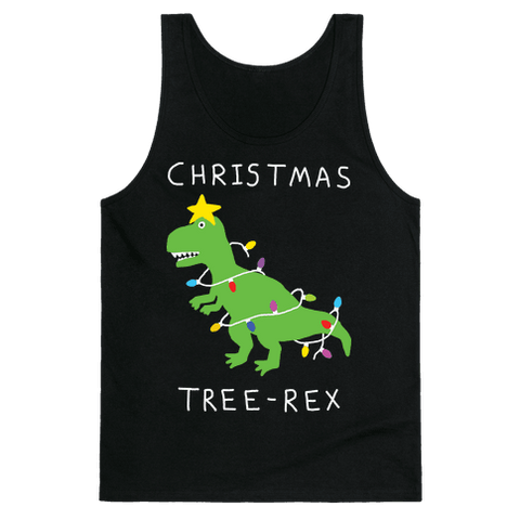 Christmas Tree Rex Tank Top - Black