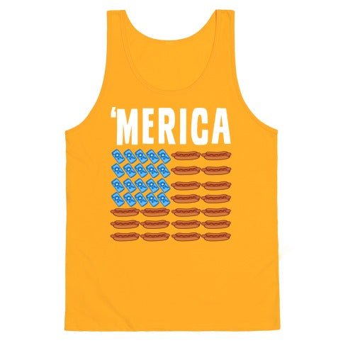 Beer, Hotdogs & 'Merica Tank Top - Gold