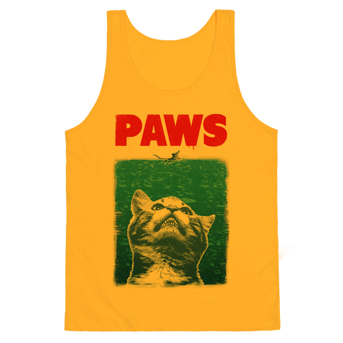 Paws (Jaws Parody Tee) Tank Top - Gold