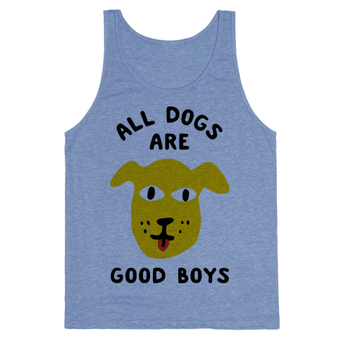 All Dogs Are Good Boys Tank Top - Heathered Blue
