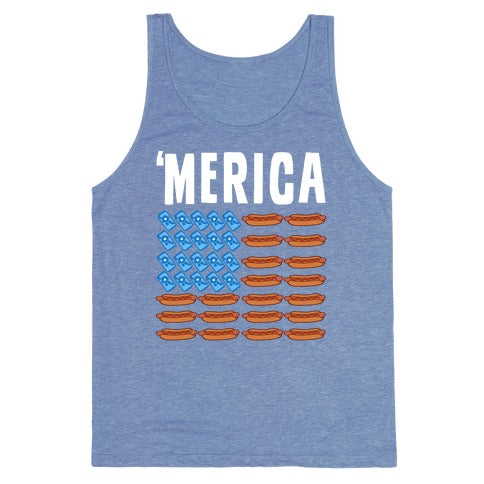 Beer, Hotdogs & 'Merica Tank Top - Heathered Blue