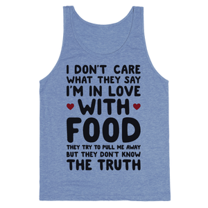 Bleeding Love For Food Tank Top - Heathered Blue