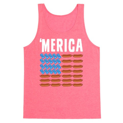 Beer, Hotdogs & 'Merica Tank Top - Neon Pink
