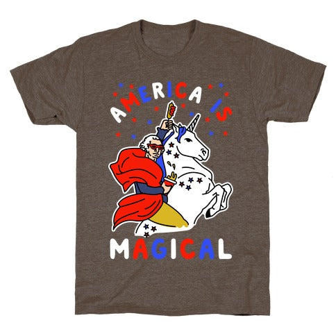 America Is Magical T-Shirt - Athletic Brown