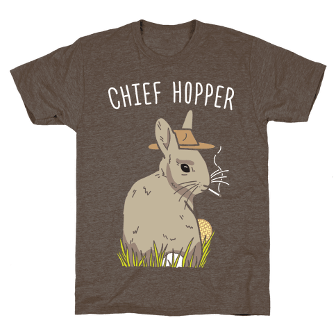 Chief Hopper Parody T-Shirt - Athletic Brown
