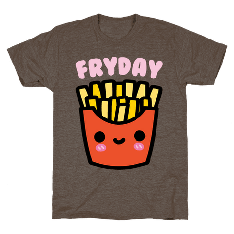 Fryday (French Fries Friday) T-Shirt - Athletic Brown