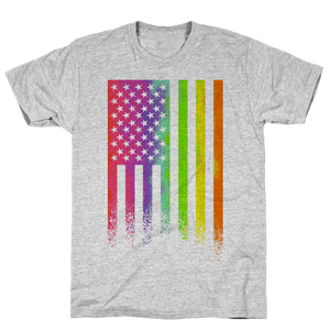 American Pride (Rainbow Flag) T-Shirt - Gray