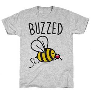 Buzzed Wine Bee T-Shirt - Gray