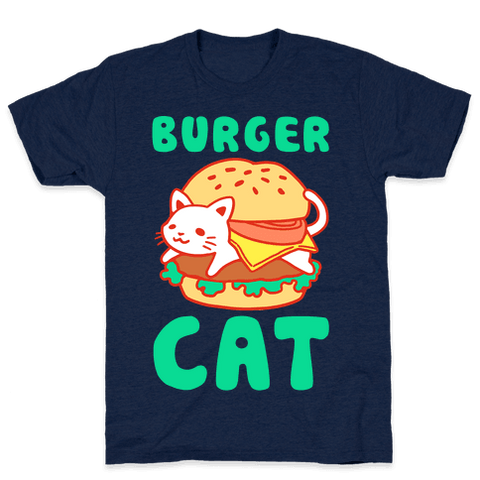 Burger Cat (Text) TShirt - Athletic Navy