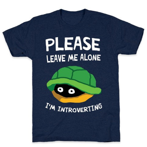 Please Leave Me Alone I'm Introverting Turtle T-Shirt - Athletic Navy