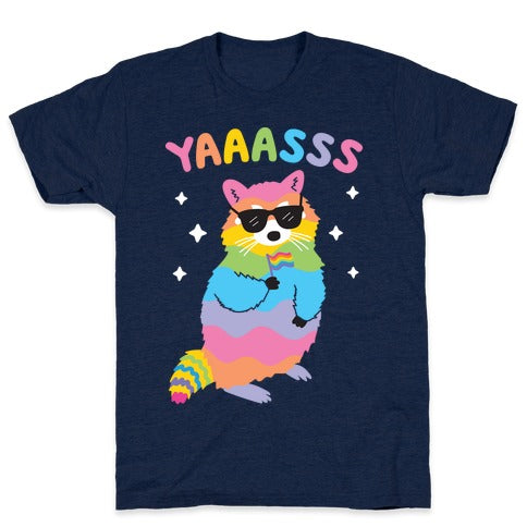 Yes Rainbow Raccoon T-Shirt - Athletic Brown