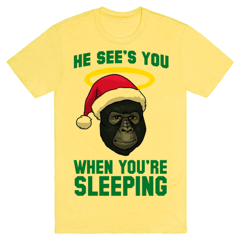 He Sees You When You're Sleeping Tee - Yellow