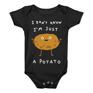 I Don't Know I'm Just A Potato Infants Onesie - Black