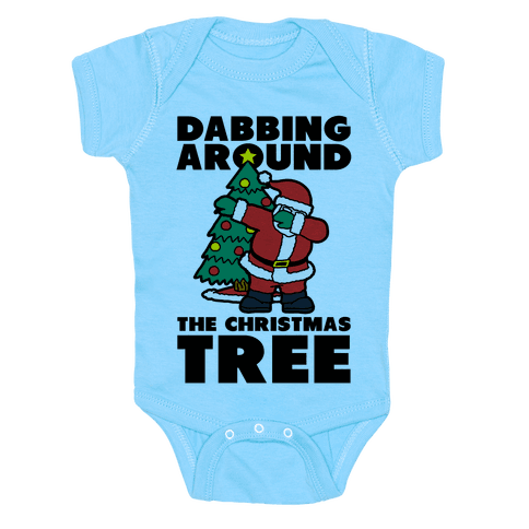 Dabbing Around The Christmas Tree Infants Onesie - Baby Blue