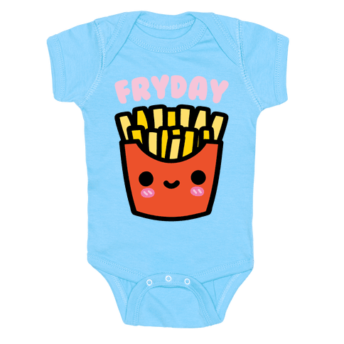 Fryday (French Fries Friday) Infants Onesie - Baby Blue