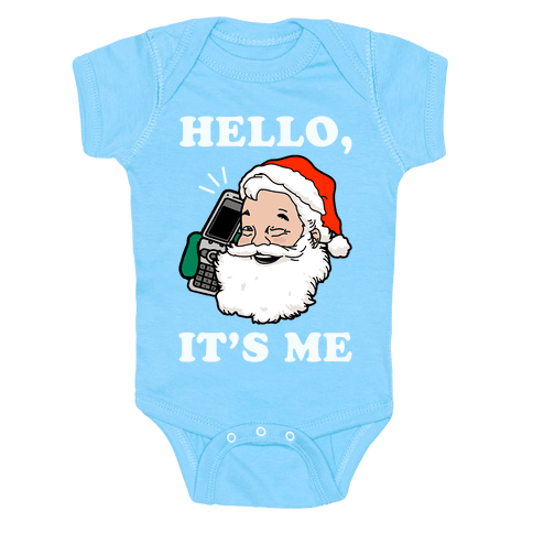 Hello, It's Me (Santa) Infants Onesie - Baby Blue