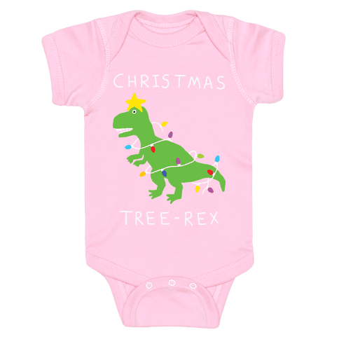 Christmas Tree Rex Infant Onesie - Light Pink