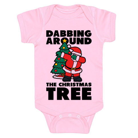 Dabbing Around The Christmas Tree Infants Onesie - Pink