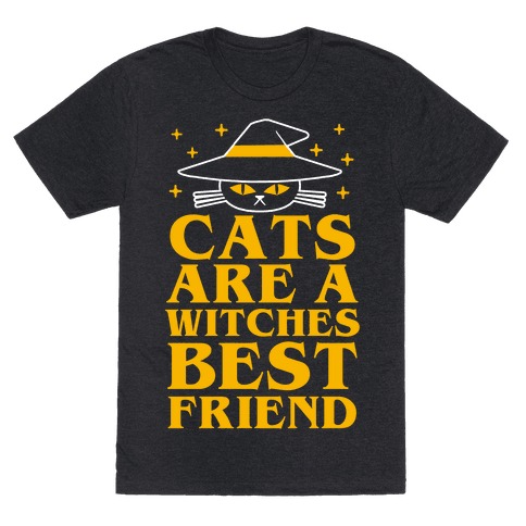 Cats are a Witches Best Friend T-Shirt - Heathered Black