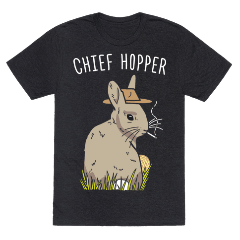 Chief Hopper Parody T-Shirt - Heathered Black