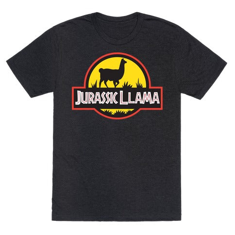 Jurassic Llama T-Shirt - Heathered Black