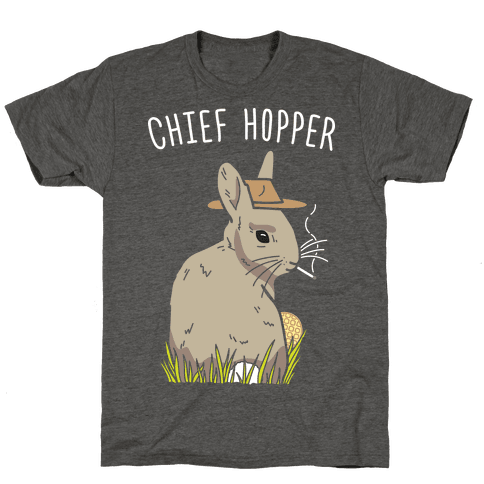 Chief Hopper Parody T-Shirt - Heathered Gray