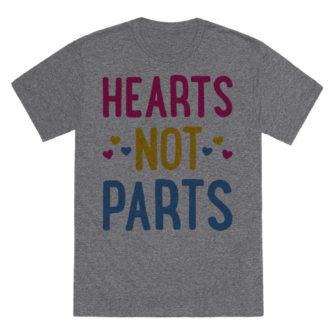 Hearts Not Parts (Pansexual) T-Shirt - Heathered Gray