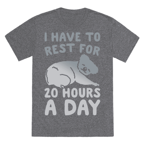 I Have To Rest For 20 Hours A Day T-Shirt - Heathered Gray