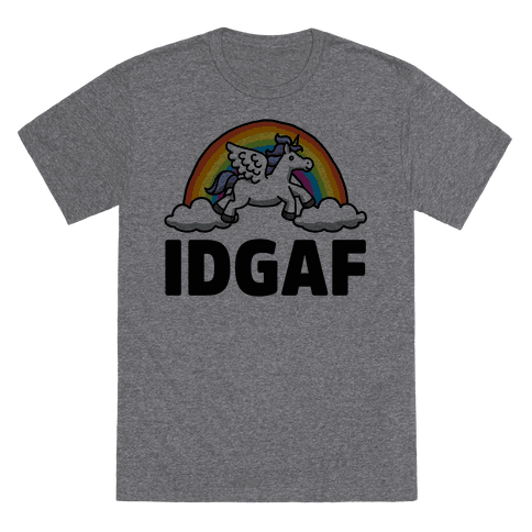 IDGAF (Unicorn) T-Shirt - Heathered Gray