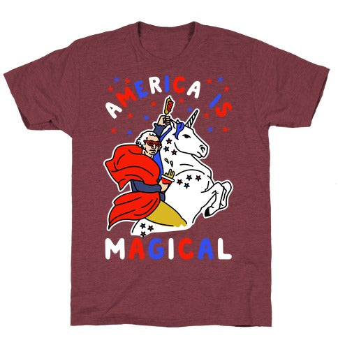 America Is Magical T-Shirt - Heathered Maroon