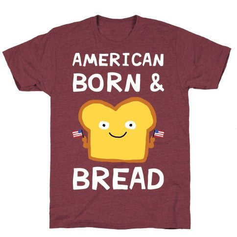 American Born & Bread T-Shirt - Heathered Maroon