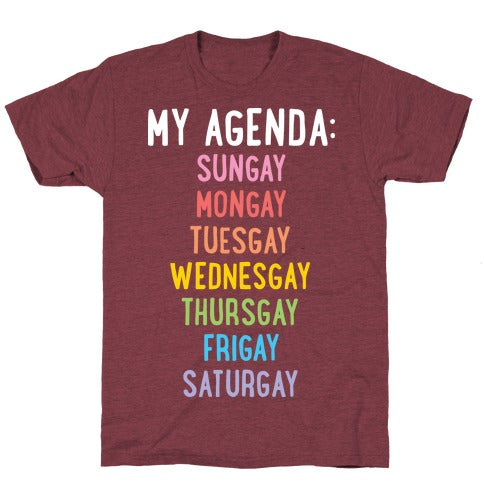 Gays Of The Week T-Shirt - Heathered Maroon