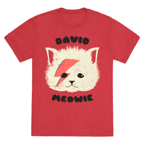 David Meowie T-Shirt - Heathered Red