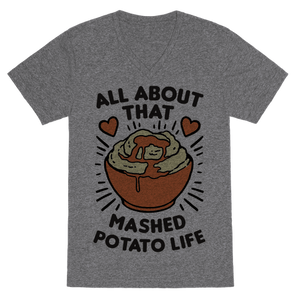 All About That Mashed Potato Life VNeck T-Shirt - Heathered Gray