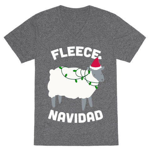Fleece Navidad VNeck T-Shirt - Heathered Gray