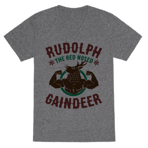 Rudolph The Red Nosed Gaindeer VNeck T-Shirt - Heathered Gray