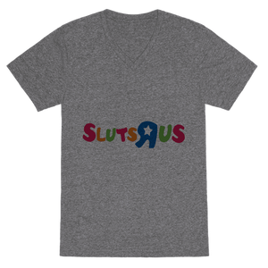 Slut R US VNeck T-Shirt - Heathered Gray