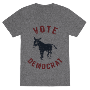 Vote Democrat (Vintage Democratic Donkey) T-Shirt - Heathered Gray