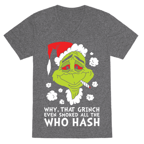 Who Hash Grinch VNeck TShirt - Heathered Gray