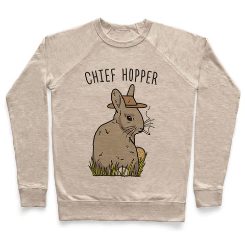 Chief Hopper Parody Sweatshirt - Heathered Oatmeal