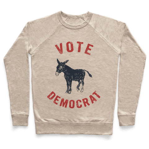 Vote Democrat (Vintage Democratic Donkey) Sweatshirt - Heathered Oatmeal