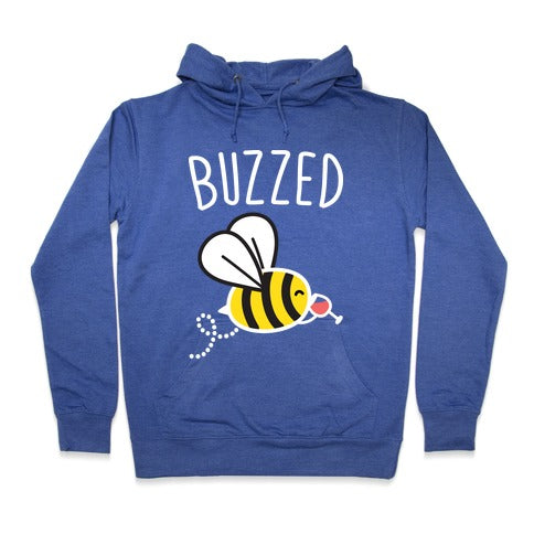 Buzzed Wine Bee Hoodie - Heathered Blue