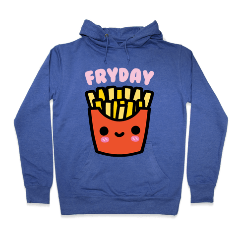 Fryday (French Fries) Hoodie - Heathered Blue