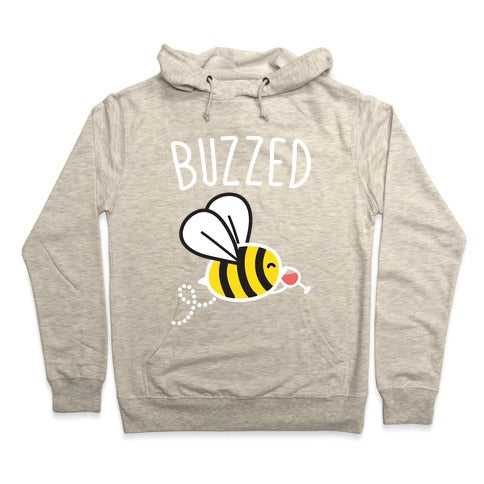 Buzzed Wine Bee Hoodie - Heathered Oatmeal