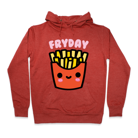Fryday (French Fries) Hoodie - Heathered Red