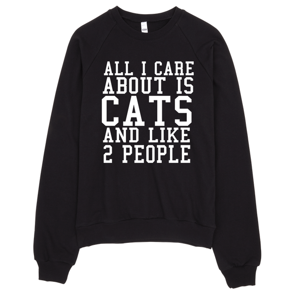 All I Care About Is Cats And Like 2 People Sweatshirt - Black