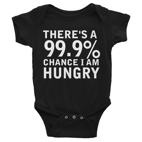 There's A 99.9% Chance I Am Hungry Infants Onesie - Black