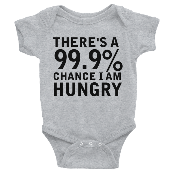 There's A 99.9% Chance I Am Hungry Infants Onesie - Gray