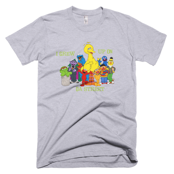 Sesame Street I Grew Up On Da Street T-Shirt - Gray